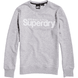 Superdry Gore logo faux suede crew shirt, collective light marl