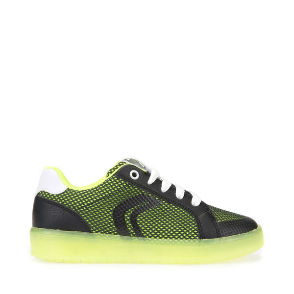 Geox: J Kommodor B.A Led Lights Shoes, Black Lime