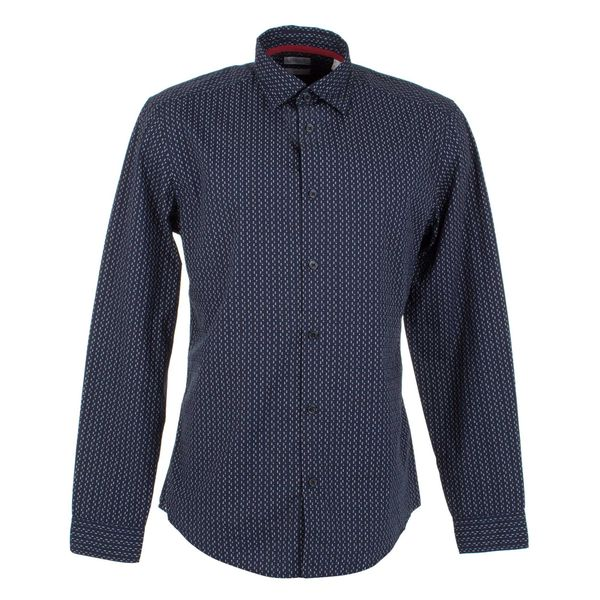 Esprit: Navy button shirt with red and white dots