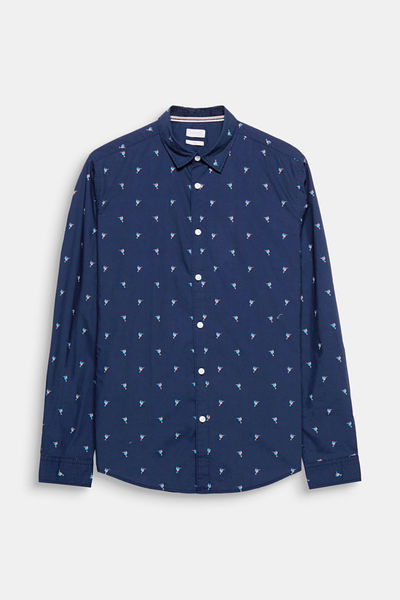 Esprit: Navy button shirt with sailing boats