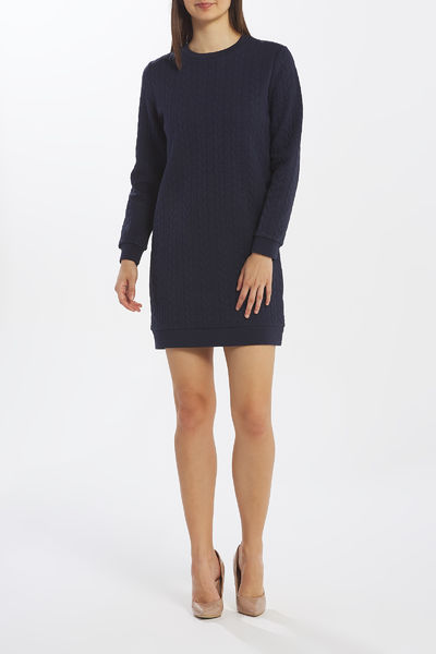 Gant: Texture cable dress, evening blue