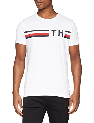Tommy Hilfiger: Striped logo graphic tee, White