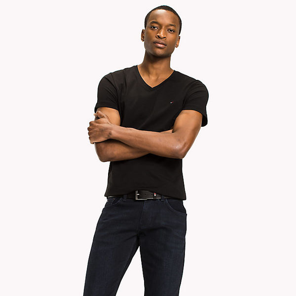 Tommy Hilfiger: Core stretch slim vneck tee, Black